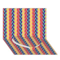 Colorful Chevron Retro Pattern Heart Bottom 3d Greeting Card (7x5)