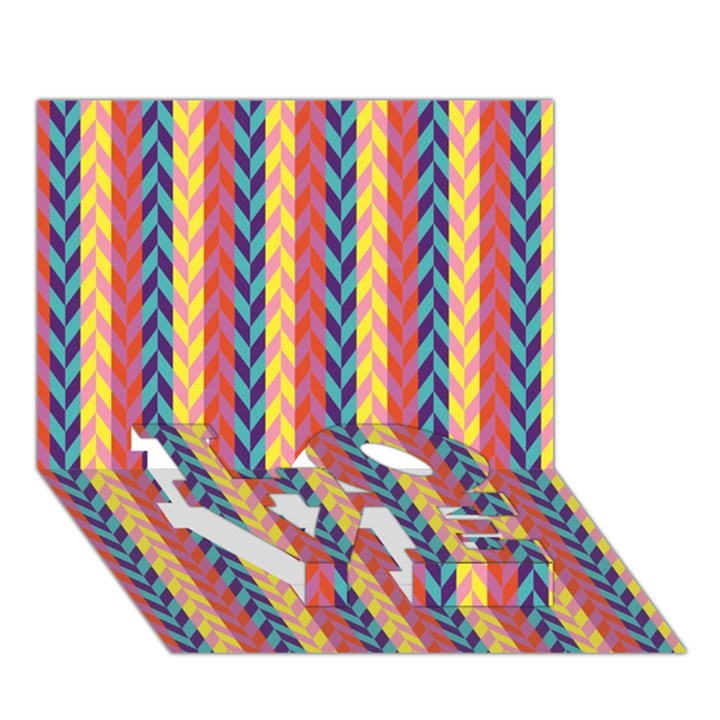 Colorful Chevron Retro Pattern LOVE Bottom 3D Greeting Card (7x5)