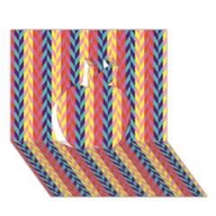 Colorful Chevron Retro Pattern Apple 3d Greeting Card (7x5) by DanaeStudio