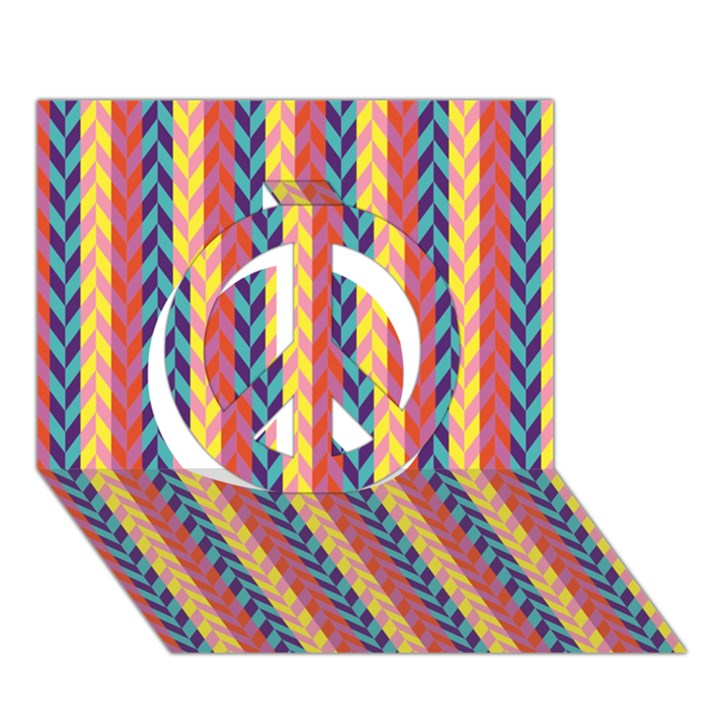 Colorful Chevron Retro Pattern Peace Sign 3D Greeting Card (7x5)