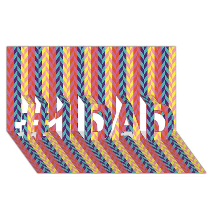 Colorful Chevron Retro Pattern #1 DAD 3D Greeting Card (8x4)
