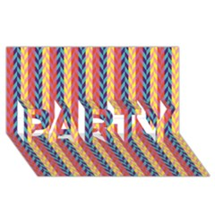 Colorful Chevron Retro Pattern Party 3d Greeting Card (8x4) by DanaeStudio