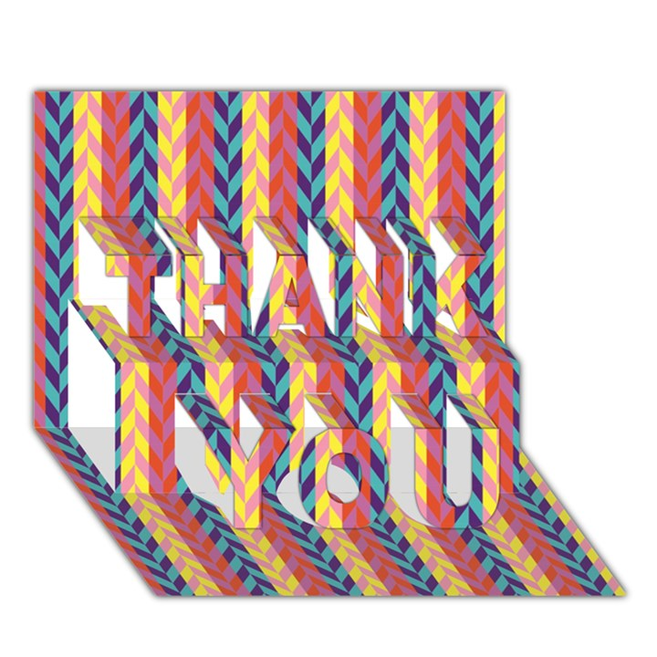 Colorful Chevron Retro Pattern THANK YOU 3D Greeting Card (7x5)
