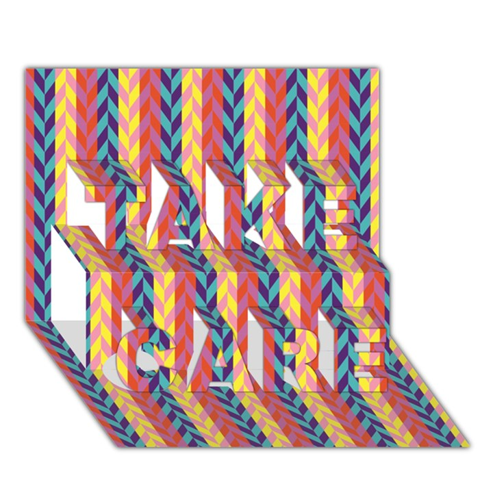 Colorful Chevron Retro Pattern TAKE CARE 3D Greeting Card (7x5)