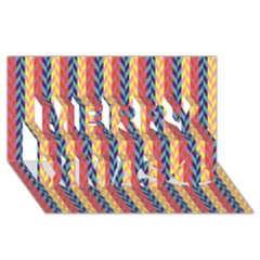 Colorful Chevron Retro Pattern Merry Xmas 3d Greeting Card (8x4)