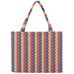 Colorful Chevron Retro Pattern Mini Tote Bag by DanaeStudio