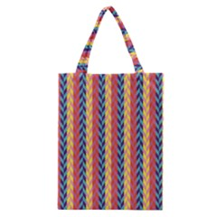 Colorful Chevron Retro Pattern Classic Tote Bag by DanaeStudio