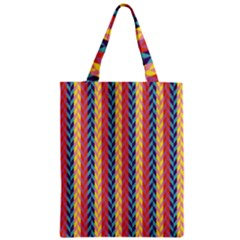Colorful Chevron Retro Pattern Zipper Classic Tote Bag by DanaeStudio