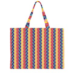 Colorful Chevron Retro Pattern Zipper Large Tote Bag by DanaeStudio