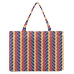 Colorful Chevron Retro Pattern Medium Zipper Tote Bag