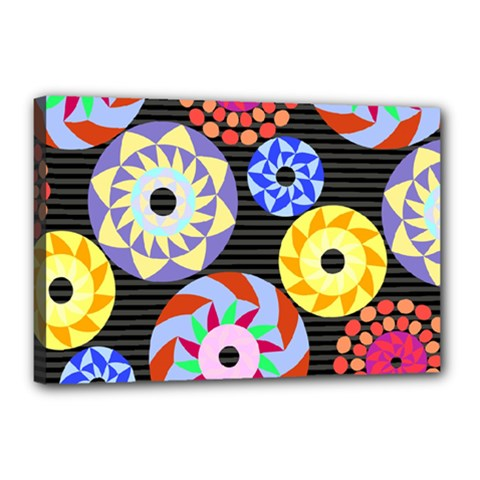 Colorful Retro Circular Pattern Canvas 18  X 12
