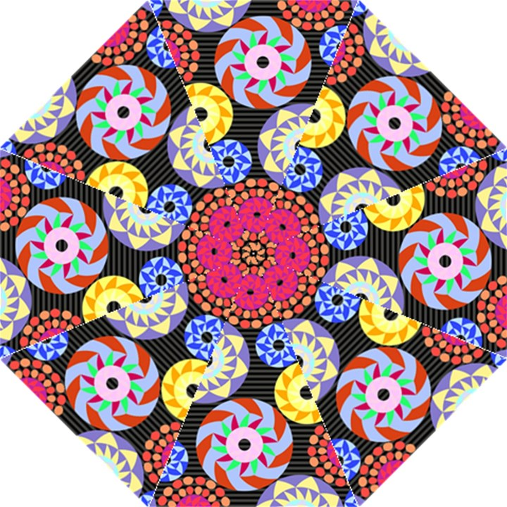 Colorful Retro Circular Pattern Straight Umbrellas