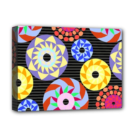 Colorful Retro Circular Pattern Deluxe Canvas 16  X 12   by DanaeStudio
