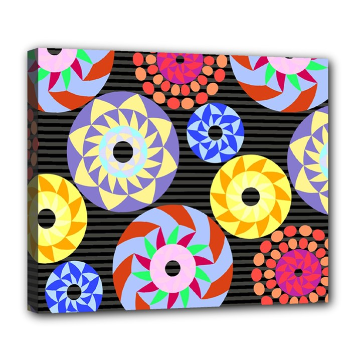 Colorful Retro Circular Pattern Deluxe Canvas 24  x 20