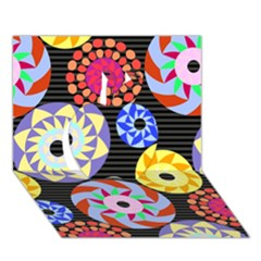 Colorful Retro Circular Pattern Apple 3d Greeting Card (7x5) by DanaeStudio