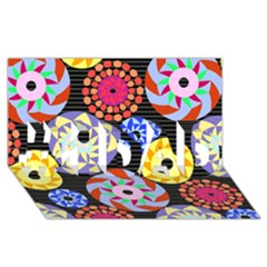 Colorful Retro Circular Pattern #1 Dad 3d Greeting Card (8x4) by DanaeStudio