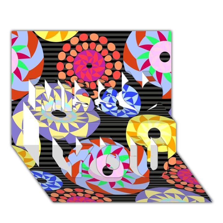 Colorful Retro Circular Pattern Miss You 3D Greeting Card (7x5)