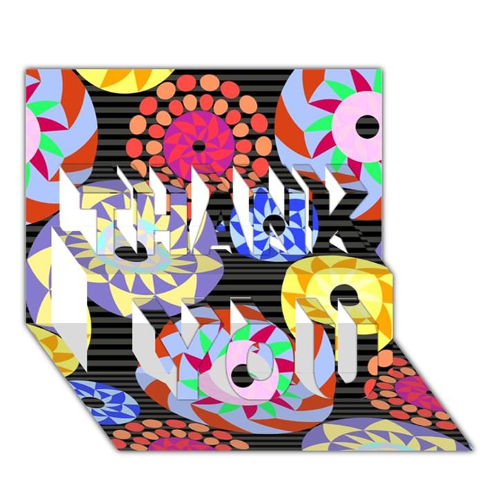 Colorful Retro Circular Pattern THANK YOU 3D Greeting Card (7x5)