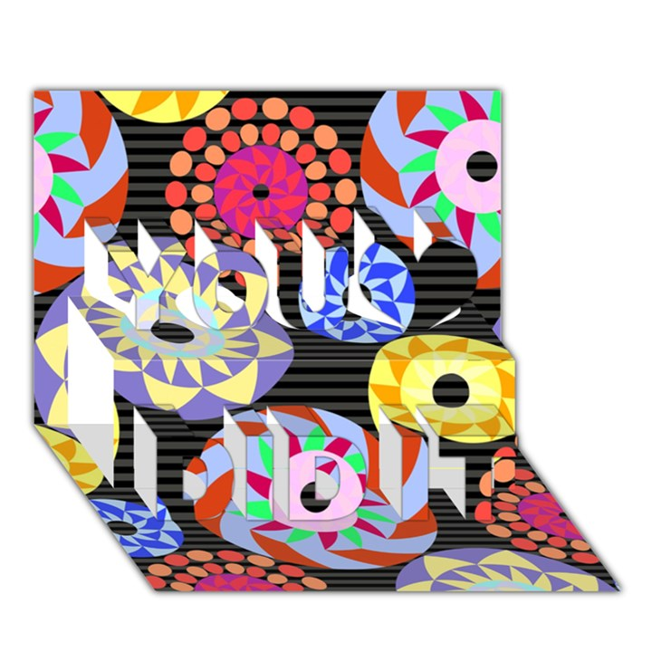 Colorful Retro Circular Pattern You Did It 3D Greeting Card (7x5)