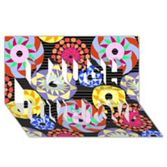 Colorful Retro Circular Pattern Laugh Live Love 3d Greeting Card (8x4)