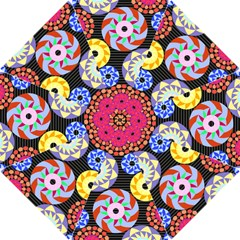 Colorful Retro Circular Pattern Hook Handle Umbrellas (small) by DanaeStudio
