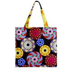 Colorful Retro Circular Pattern Grocery Tote Bag by DanaeStudio