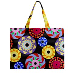 Colorful Retro Circular Pattern Zipper Mini Tote Bag
