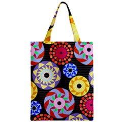Colorful Retro Circular Pattern Zipper Classic Tote Bag by DanaeStudio