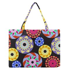 Colorful Retro Circular Pattern Medium Zipper Tote Bag by DanaeStudio