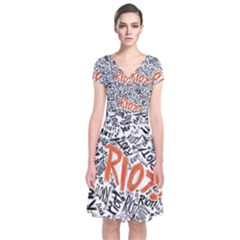 Paramore Is An American Rock Band Short Sleeve Front Wrap Dress by Onesevenart