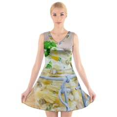 1 Kartoffelsalat Einmachglas 2 V-Neck Sleeveless Skater Dress