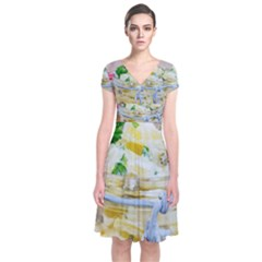 1 Kartoffelsalat Einmachglas 2 Short Sleeve Front Wrap Dress