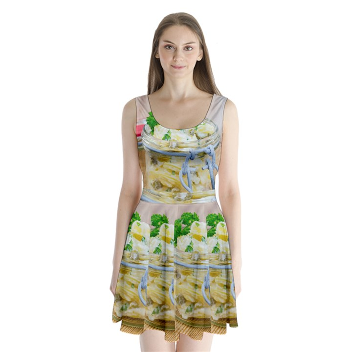 1 Kartoffelsalat Einmachglas 2 Split Back Mini Dress