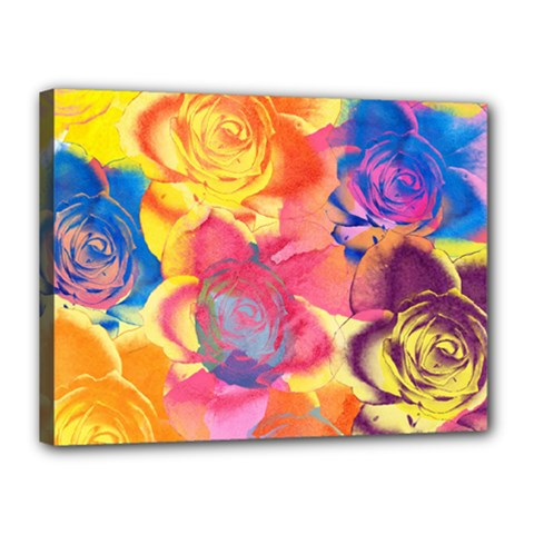 Pop Art Roses Canvas 16  X 12