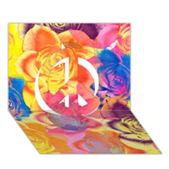 Pop Art Roses Peace Sign 3d Greeting Card (7x5) by DanaeStudio