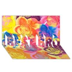 Pop Art Roses BEST BRO 3D Greeting Card (8x4)