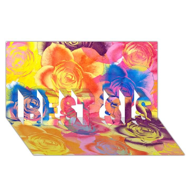 Pop Art Roses BEST SIS 3D Greeting Card (8x4)