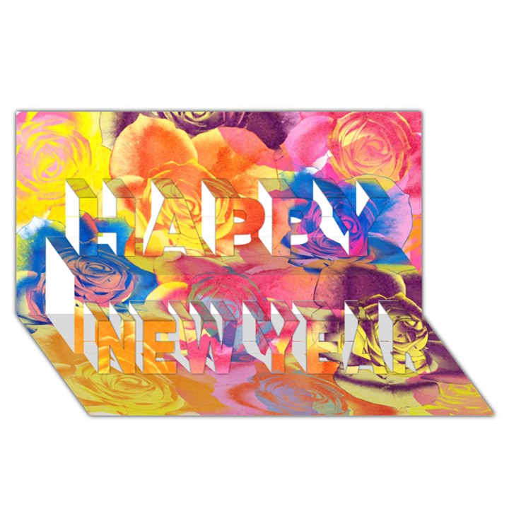 Pop Art Roses Happy New Year 3D Greeting Card (8x4)