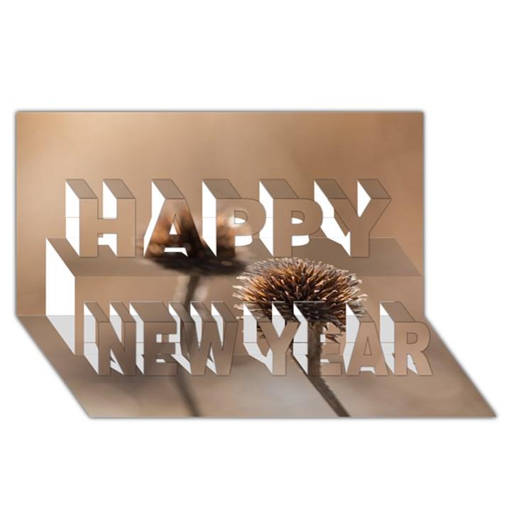 2  Verwelkte Kugeldistel Happy New Year 3D Greeting Card (8x4)