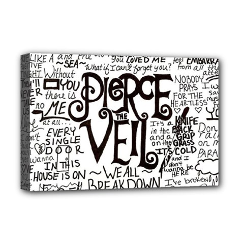 Pierce The Veil Music Band Group Fabric Art Cloth Poster Deluxe Canvas 18  X 12   by Onesevenart