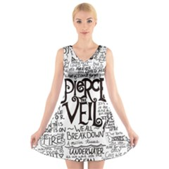Pierce The Veil Music Band Group Fabric Art Cloth Poster V Neck Sleeveless Skater Dress by Onesevenart