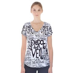 Pierce The Veil Music Band Group Fabric Art Cloth Poster Short Sleeve Front Detail Top by Onesevenart