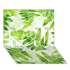 Fern Leaves I Love You 3D Greeting Card (7x5)