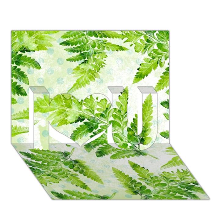Fern Leaves I Love You 3D Greeting Card (7x5)