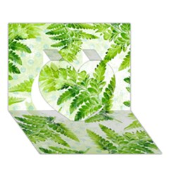 Fern Leaves Heart 3d Greeting Card (7x5) by DanaeStudio