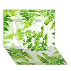 Fern Leaves Love 3d Greeting Card (7x5) by DanaeStudio
