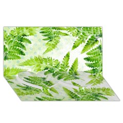 Fern Leaves Twin Heart Bottom 3D Greeting Card (8x4)