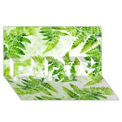 Fern Leaves Party 3d Greeting Card (8x4) by DanaeStudio
