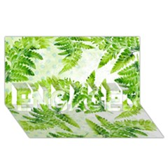 Fern Leaves ENGAGED 3D Greeting Card (8x4)