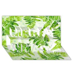 Fern Leaves Merry Xmas 3D Greeting Card (8x4)